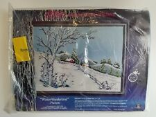 Paragon Crewel Kit Winter Wonderland Snowy Country Farm 18x24 Sealed VTG 0224