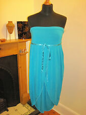 FULL CIRCLE Grecian peacock teal DRESS new 10-12 RP£65 Lolita