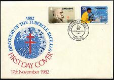 Zimbabue 1982 Dr. Robert Koch el descubrimiento TB FDC Primer Día Cubierta #C42076