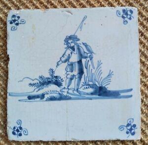 ANTIQUE 18C DUTCH DELFT TILE BLUE AND WHITE DEPICTING A FALCONER IN A LANDSCAPE