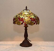 "12""W Grape Vine Stained Glass Tiffany Style Table Desk Lamp, Zinc Base!"