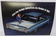 1966 66 REBELLION GIRL POLARA BLUE DODGE BOYS DEALER PROMO MOPAR POSTCARD