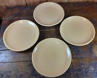 Set of 4 Dinner Plates Heavy Yellow Pottery Unmarked Unknown Maker