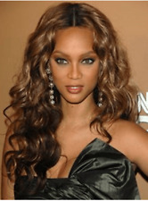 Beyonce Long Wave Light Brown Synthetic Wigs 22 In