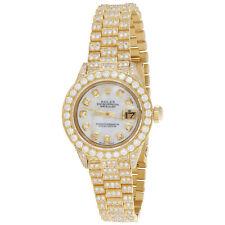Rolex 18K Gold President 26mm DateJust 69178 VS Diamond White MOP Watch 7.43 CT.
