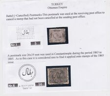 Turkey-1863-1900 Battel (=Cancelled) a postmark applied to uncancelled stamps