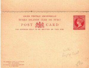TURKS Unused QV Postal Stationery INTACT REPLY CARD 1d {samwells-covers} PB303