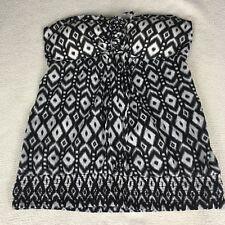Guess Womens Strapless Top Aztec Design Black White Blouse Size M Elastic Waist