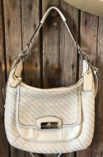 Coach Kristin Bag Woven Off White Leather Hobo Shoulder Crossbody Purse 19314