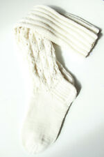 Hand Knitted long wool Socks! Knee High socks, White with lace pattern!