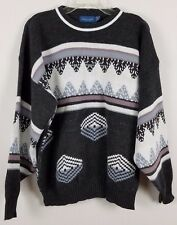 TOWNCRAFT Vintage multi-colored geometric gray pink men sweater sz XL