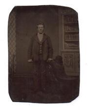 PHOTO ANCIENNE CDV Tintype Ferrotype Vers 1870 Homme Fauteuil Chapeau Studio