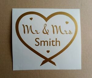 Personalised Mr & Mrs Name in Hearts Sticker vinyl decal 3 sizes wedding