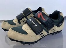 SPECIALIZED MTB CYCLING SHOES, Tan Suede Green SPD Cleat  Men US 7, EU 39