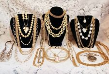22 Piece Modern and Vintage Goldtone Mixed Necklace Lot