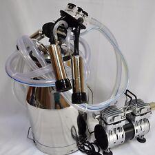 Portable Cow Bucket Milker:Oil-less Vacuum Pump+Tank+Pulsator+Claw+S hells+Liners