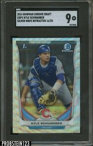 2014 Bowman Chrome Silver Wave Refractor Kyle Schwarber Cubs RC Rookie /25 SGC 9