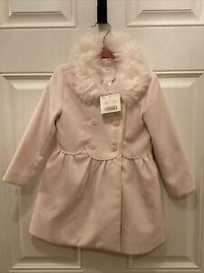 Janie & Jack Girl's Pink Coat NWT Vintage 2014  New White Fur Collar Bonjour