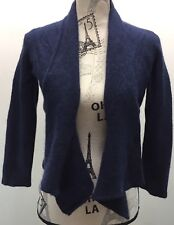 Rino Bossa Navy Open Cropped Cardigan Women One Size 100% Cashmere Blue