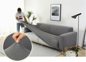 1/2/3/4-Seater Solid Gray Color Sofa Covers Polyester Modern Elastic Couch Cover