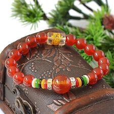 Natural Red Agate Stone Tibetan Buddha Buddhist Mantra Prayer 8mm Beads Bracelet