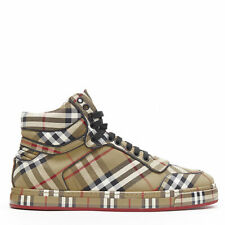 new BURBERRY TISCI Redford Antique Yellow House Check high top sneakers EU42