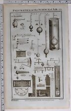 1788 ORIGINAL PRINT PNEUMATICS AIR SCIENCE VARIOUS EXPERIMENT APPARATUS