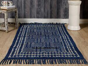 Indigo Blue Rag Rug Hand Block Print Rug Indian Rug Area Dhurrie Cotton Rug Art