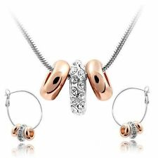 18K White and Rose Gold GP White Swarovski Crystals Set Necklace Hoop Earrings!