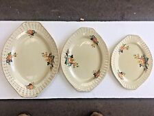 """3 Adams Royal Ivory Titian Ware Large oval plates 16"""" 14"""" and 12"""" west yorkshire"""