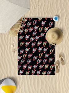 "58""x39"" Black candy skulls design microfibre beach towel sun bathing towel"