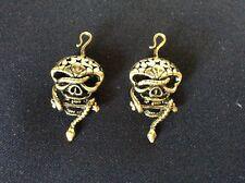 2 Antico Bronzo Oro Messicano Cranio Serpente Ciondolo Pendente di abbellimento Steampunk