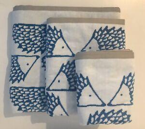 Scion Hand Towel Hedgehog Spikes Cotton  Blue White Revisable