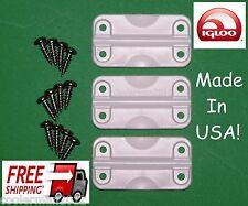 3 each Igloo Cooler Hinge Replacement Plastic Hinges w/ set 12 SS Screws 24012