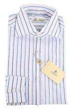 Luigi Borrelli 70% Cotton/30% Linen 15,75/40 Dress Shirt Blue Stripes on White