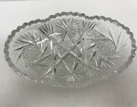 Vintage Crystal Candy Or Nut Dish Sawtooth Edge With Diamond, Fan And Sunburst