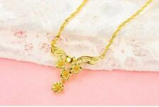 "24K Yellow Gold Filled Necklace 19.6""chain Flower Link GF Charm Fashion Jewelry"