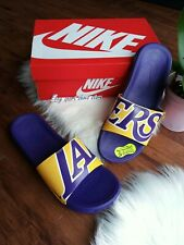 Size 11 men's NIKE BENASSI SOLARSOFT NBA 917551 700 LAKERS SANDALS YELLOW PURPLE