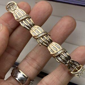 "10K Solid Yellow Gold 2.51TCW Baguette Diamond Thick Tennis Bracelet 7 3/16"""