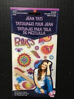 Jean Tats Hippie Wash Off Temporary Clothes Rub On Tattoos 26Pc New