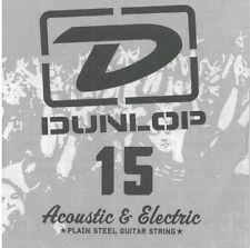 2 X Jim Dunlop DPS015 Single Plain Steel .015 *NEW* B 2nd Acoustic Guitar String