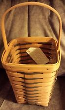 Longaberger Tall Peg basket with Protector and product card in Heartland weave