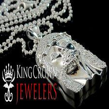 White Gold Sterling Silver Lab Diamond Mini Jesus Piece Face Pendant Charm Chain