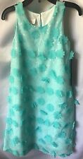 Isobella and Chloe Girls Aqua Green A-line Flower Appliqué Dress Size 5- New