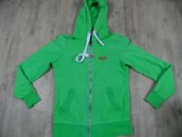 SUPERDRY coole Kapuzensweatjacke Hoodie grün Gr. S TOP SP1117