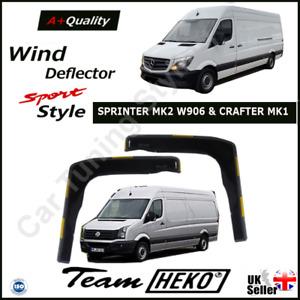 MERCEDES SPRINTER MK2 & VW CRAFTER MK1 2006-2018 2-pc Wind Deflectors HEKO