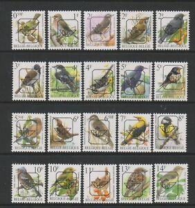 Belgium - 1991/2, 50c - 14f Various Bird stamps with Posthorn Overprint - MNH