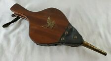 VINTAGE  Wood and Leather Fireplace Bellows With Eagle Made In Japan Working