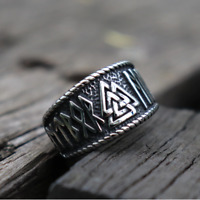 Vintage Silver Viking Runes Ring Mens 316L Stainless Steel Norse Amulet Jewelry