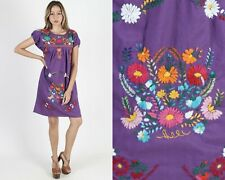 Vintage Mexican Dress Purple Fiesta Bright Floral Hand Embroidered Boho Mini